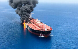 Tankers on Fire in Gulf of Oman